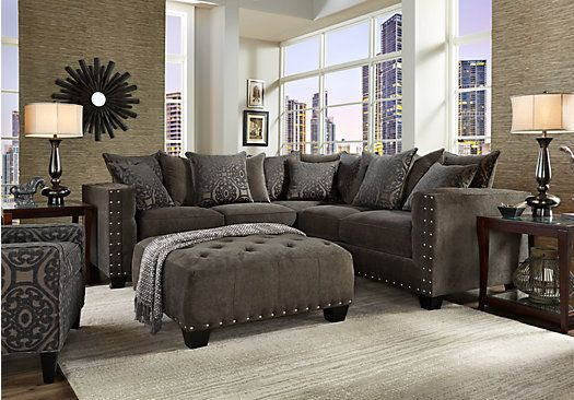 picture of Cindy Crawford Home Sidney Road Gray 2 Pc Sectional  from Living Room Sets Furniture