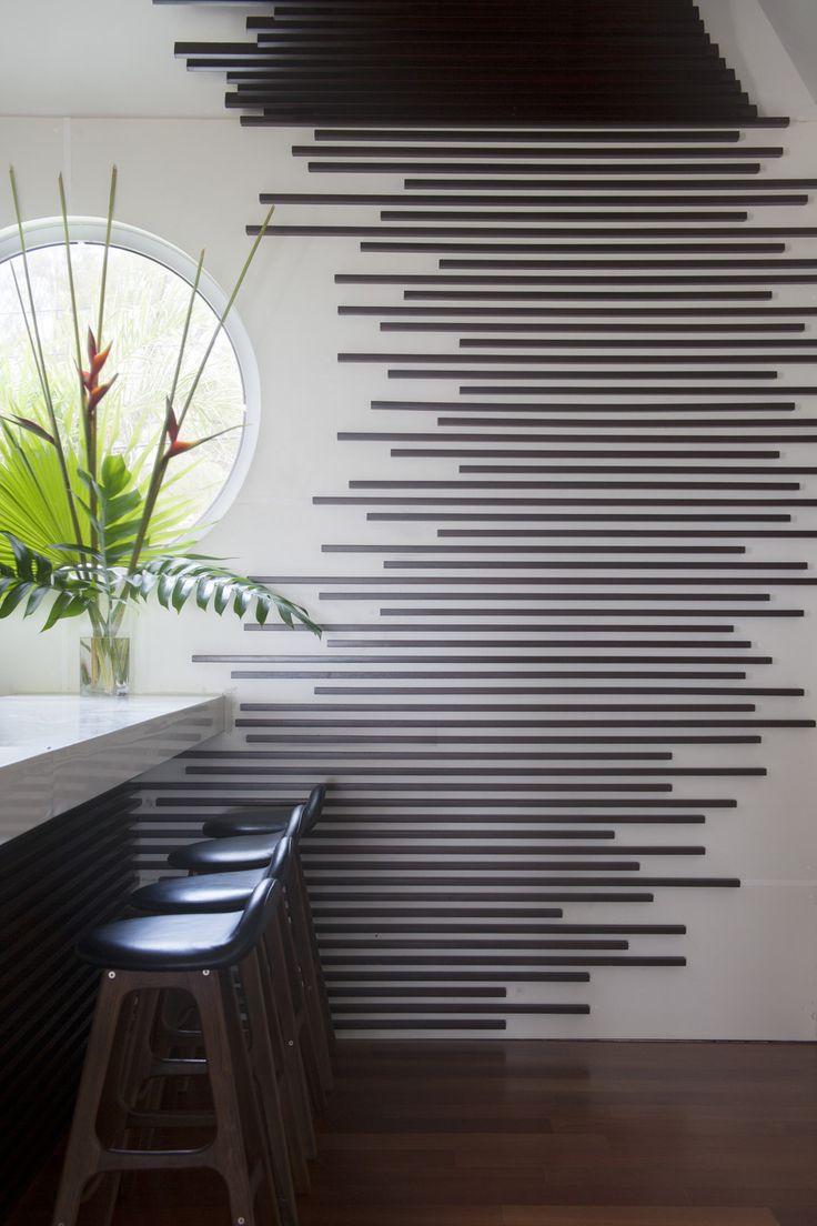 Contemporary Eclectic Hotels: A graphic wall treatment in the Trident Hotel bar.