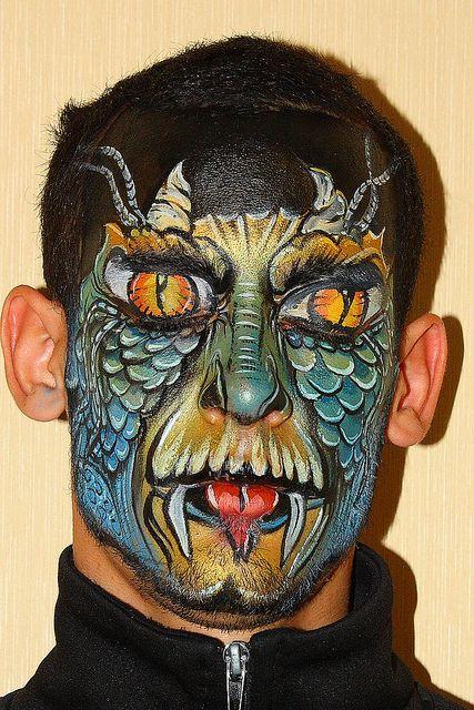 Face Painting Dragon    Artist: Anna Wilinski