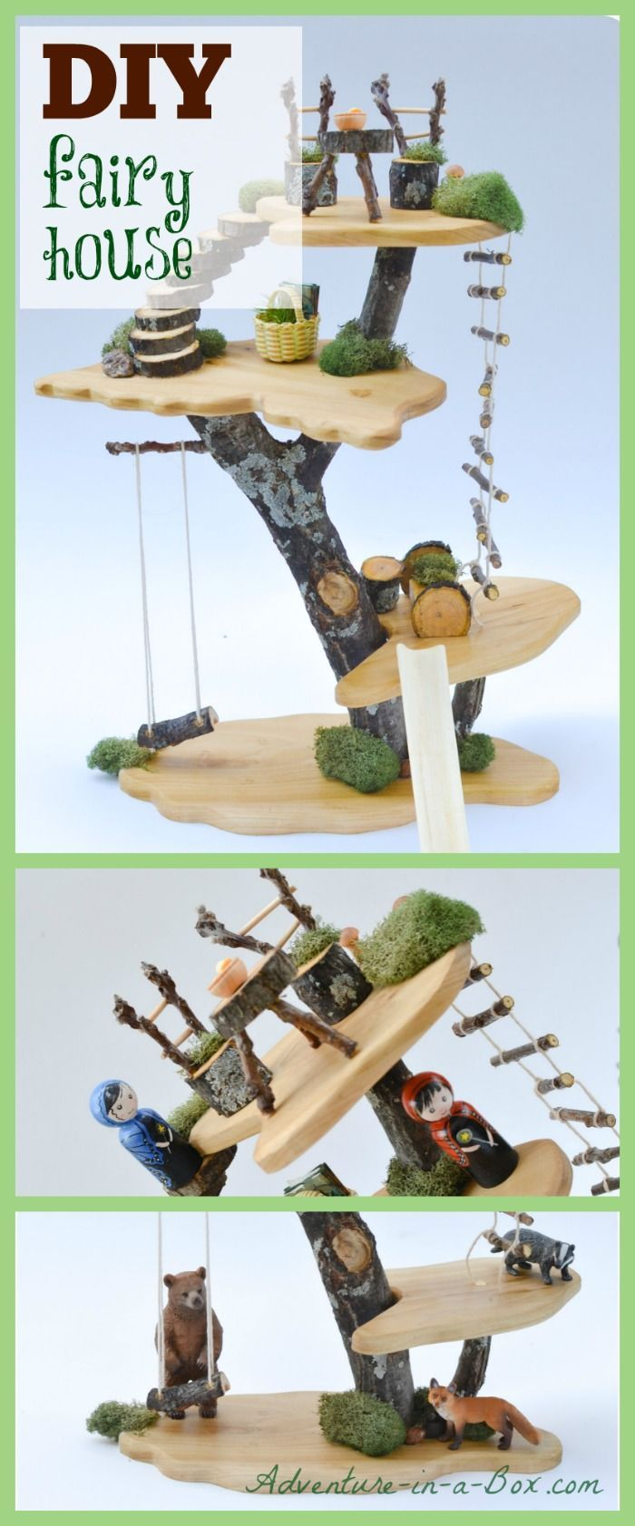 How to make a toy tree house with simple tools and natural materials. Invite fairies to live in your children's playroom! Perfect for Waldorf environment.