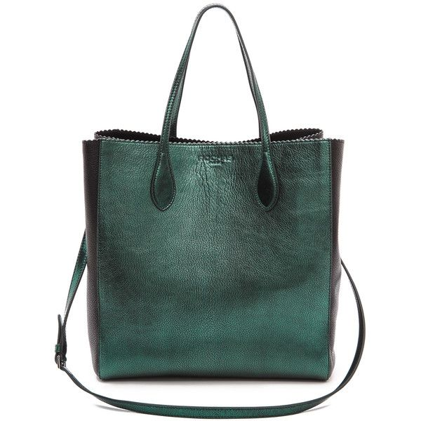 Rochas Leather Tote - Bottiglia (94405 RSD) ❤ liked on Polyvore featuring bags, handbags, tote bags, green leather handbag, leather zipper pouch, zippered tote bag, leather zip pouch and handbags totes