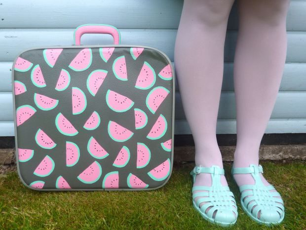 Upcycled vintage suitcase with hand painted watermelon pattern