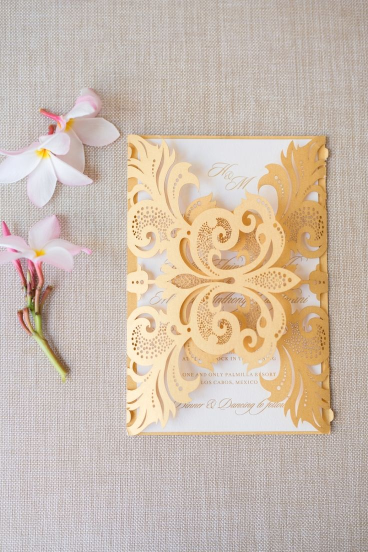 Stunning #Destination Wedding started with these gorgeous Invitations from Shana Gann Creative of Krop.com | Sara RichardsonPhoto.com | See more on #SMP http://www.StyleMePretty.com/destination-weddings/2015/11/15/paradise-found-romantic-tropical-wedding-in-mexico/