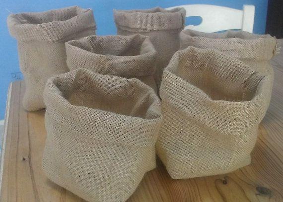 6 small plain handmade hessian bags perfect for potting plants by Happyhessian, $40.00