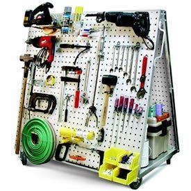 Heavy-Duty Steel Pegboard Mobile Tool Cart. Organized garage.