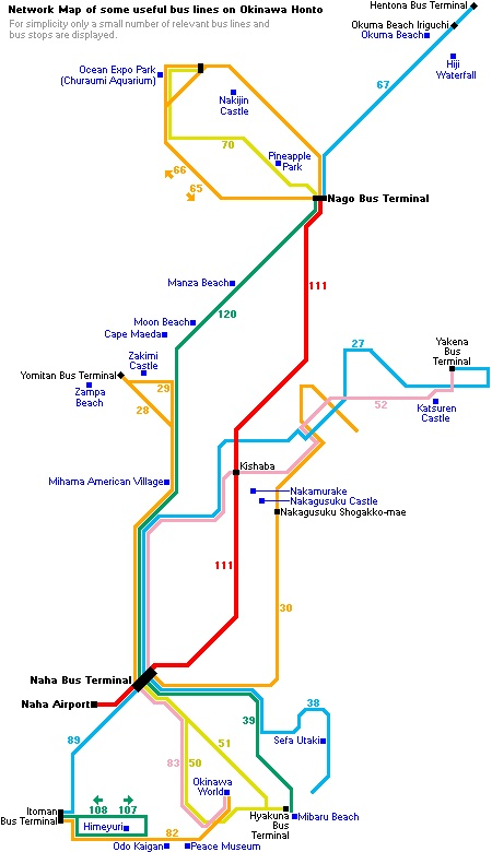 Map of useful bus lines on Okinawa.  What bus did we use?