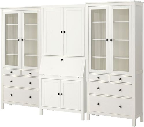 HEMNES from Ikea; two glass-door cabinets with drawers, secretary desk, and add-on unit. $1215.
