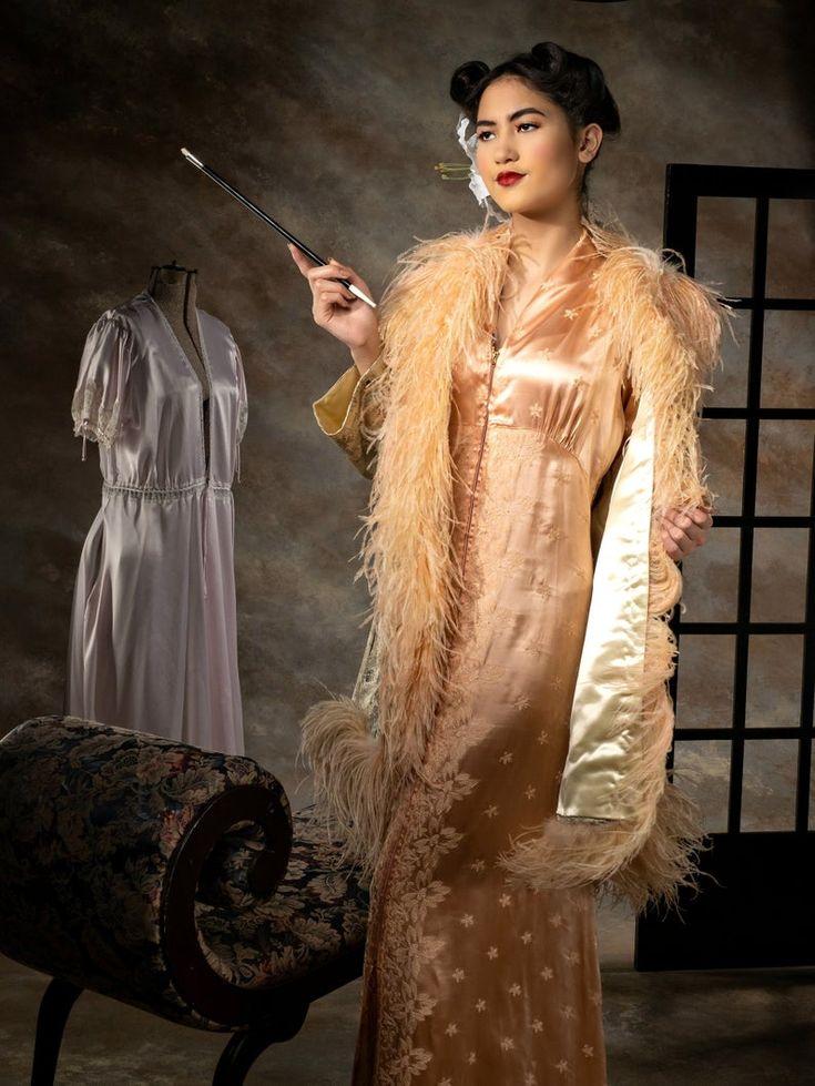 1940s Dress Silky Stars Vintage 40s Dress: 1940s Long Dress 40s Evening Dress Hollywood Glamour