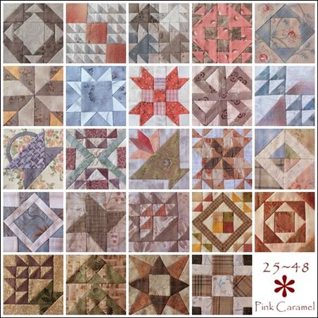 Patchwork * Pink Caramel *: The Farmer's Wife Sampler Quilt Blocks 25-48