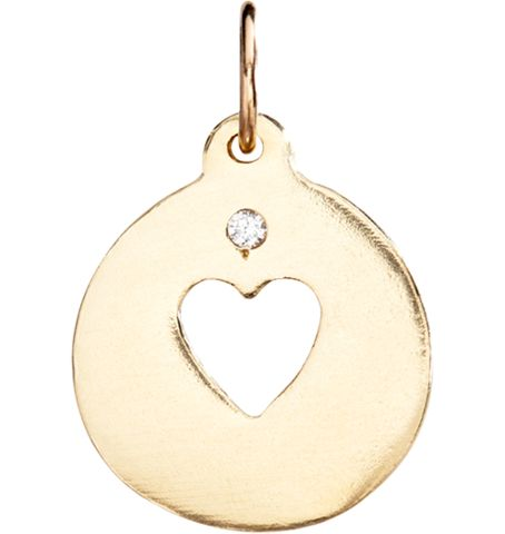 The Helen Ficalora 14k solid yellow gold heart cutout disk charm with diamond.