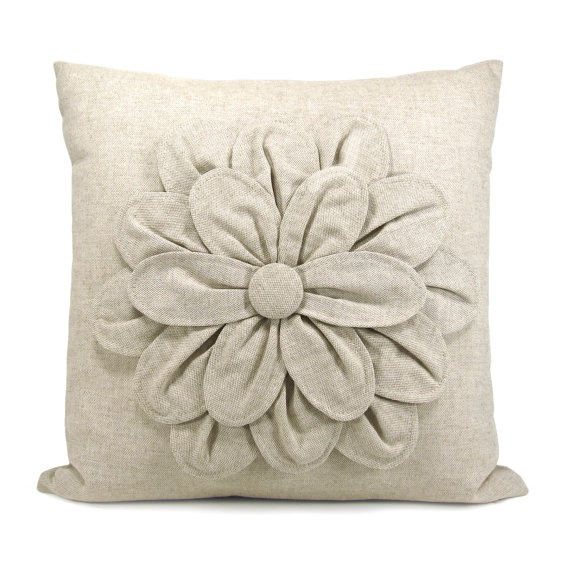 Shabby Chic Decorative Throw Pillow : 16x16 Decorative Pillow Cover Flower Pillow Cover Natural Pillow Cover Rustic and Shabby ...