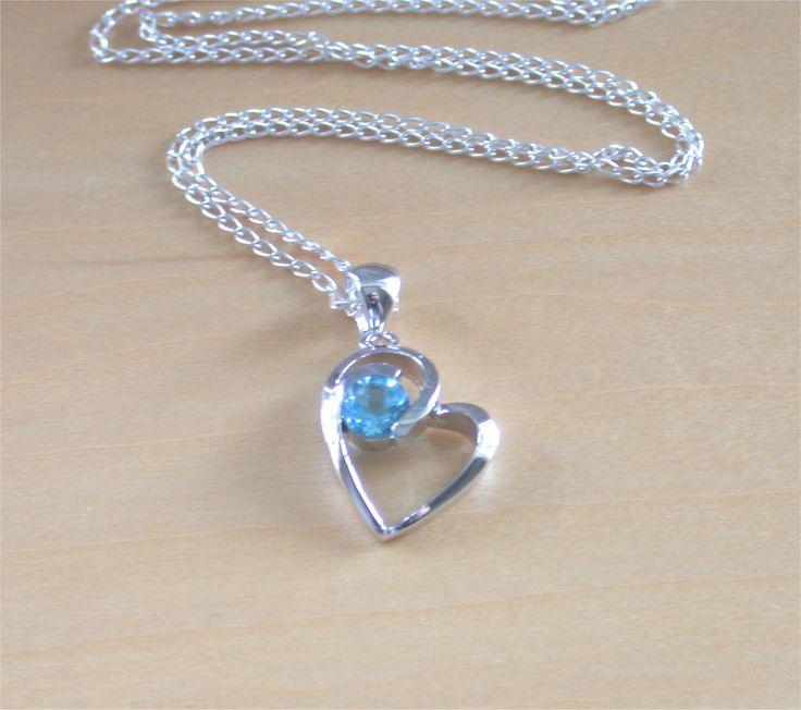 "925 Blue Topaz Heart Pendant & 18"" Silver Chain/Topaz Heart Necklace/Topaz Jewelry/Topaz Jewellery/Topaz Jewelery/November Birthstone/Blue by joannasjewellerycouk on Etsy"