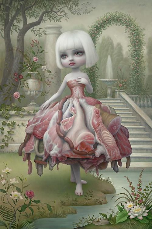 Blending themes of pop culture with techniques reminiscent of the old masters, Mark Ryden has created a singular style that blurs the traditional boundaries between high and low art. Ryden s vocabulary ranges from cryptic to cute, treading a fine line between nostalgic cliche and disturbing archetype.  In Ryden's world cherubic girls rub elbows with strange and mysterious figures. Ornately carved frames lend the paintings a baroque exuberance that adds gravity to their enigmatic themes.