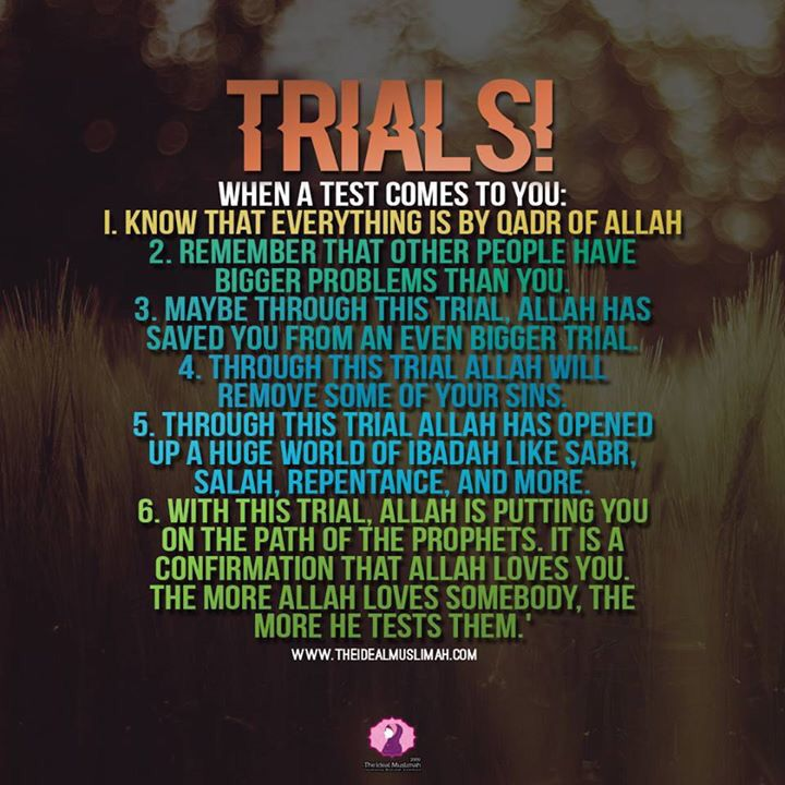 Trials when a test comes to you, know that everything is by qadir of allah s.w.t.