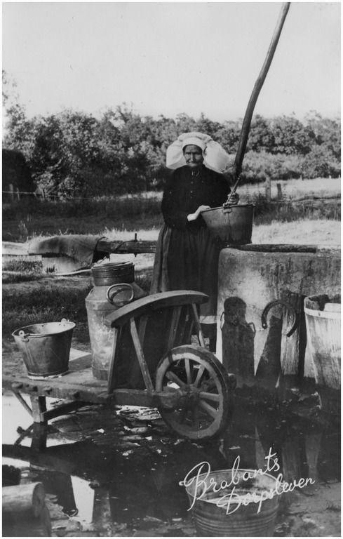Boerin met emmer op rand van put, waarvoor kruiwagen met emmer en melkbus, op Aarle. Zij heette M. van de Sande, bijgenaamd Mie van Graarten of Mie de bijlegger. Zij was baakster - 1934