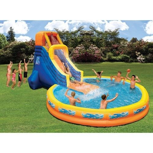 Inflatable pool with water slide swimming kids outdoor for Kids swimming pool