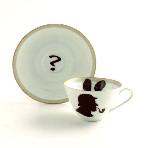 SALE Altered Sherlock Holmes Vintage CupTea or Coffee Porcelain Recycled Who Question Mark White Brown BBC Television Serie Crime Story