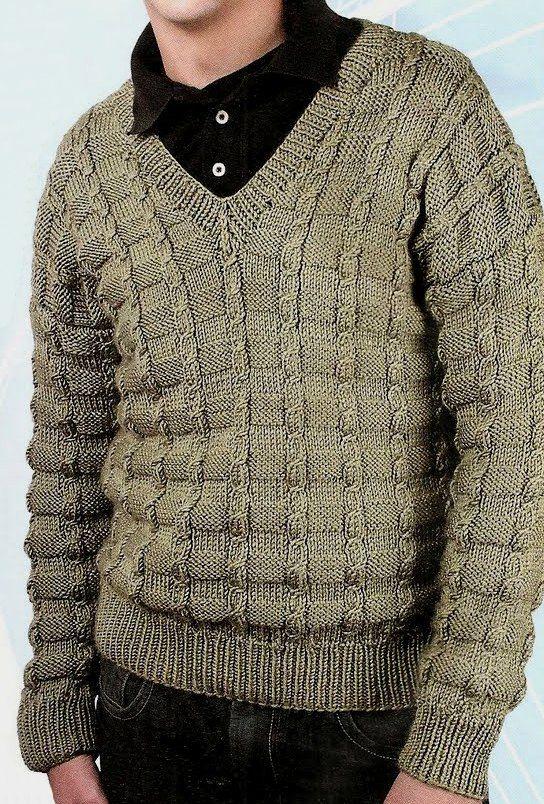 Patrones de Tejido Gratis - Suéter de hombre                                                                                                                                                      Más