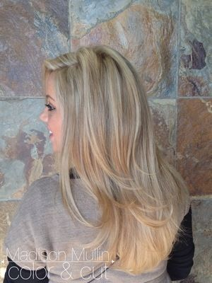 blonde highlights, bright blonde long layers, long hair cut, by: MadisonMullin
