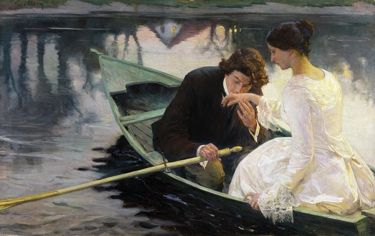 """Doesn't get more romantic than this! """"Traeumerei(Reverie)"""" byFranz Paul Guillery, c1900, private collection. #romance #loveinaboat #rowboat #franzpaulguillery #germanart #germanartist #romanticart #romance #loveinart #arthistory #historyofart #heartart"""