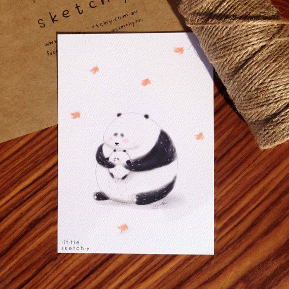 Panda. Father's Day card. art print. Father's by littlesketchyaus