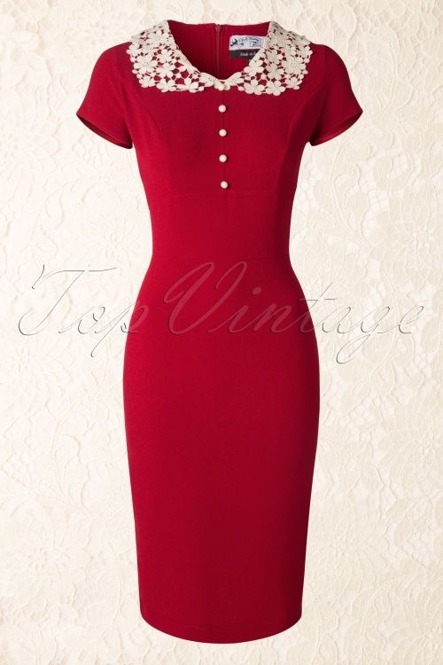 Bunny - 40s Reanna Pencil Dress in Red Crêpe