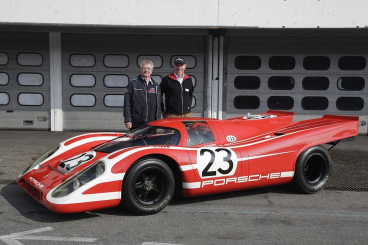 Hans Herrmann (left) and Richard Attwood (right) on their winner car Porsche 917 KH Coupé #23