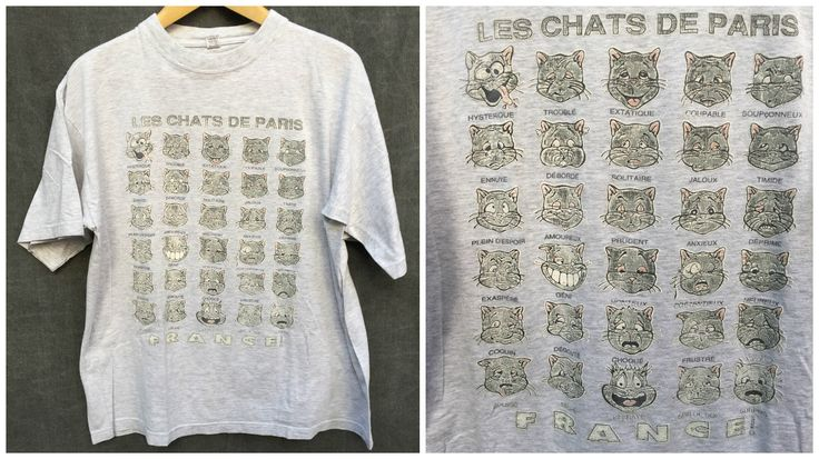 80's Les Chats De Paris France Vintage Tee French Kitty Emotions OG Emojis - T…