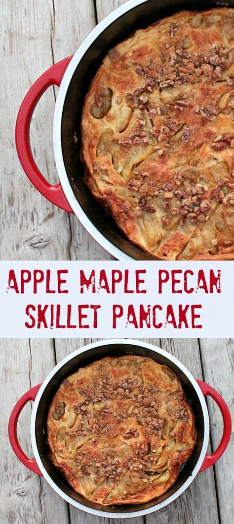 Apple Maple Pecan Skillet Pancakes are the best fall breakfast recipe ever. Made with fresh apples..soo good!