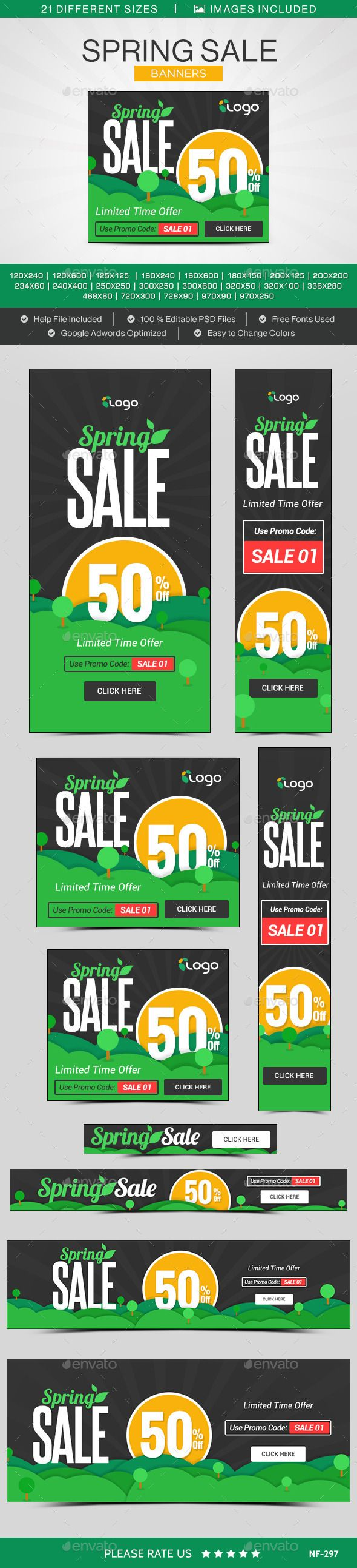 Spring Sale Banners - Banners & Ads Web Template PSD. Download here: http://graphicriver.net/item/spring-sale-banners/10869480?s_rank=1761&ref=yinkira