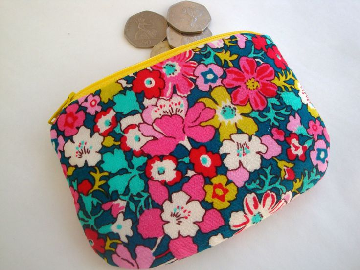 Floral Cotton  Coin Purse - Liberty Print Coin purse - zip purse - handmade - gift - women - girls -  fabric coin purse - mini make up bag by GerdaBags on Etsy