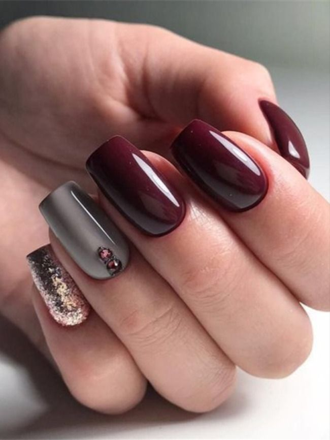 36 Short Gel Nails Art Design Take You New Look Amazing In 2020 In 2020 Burgundy Nails Purple Nails Gel Nail Art Designs