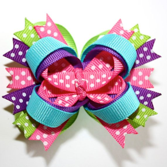 Mini Hot Pink, Turquoise, Lime Green Purple Polka Dots Stacked Hair Bow