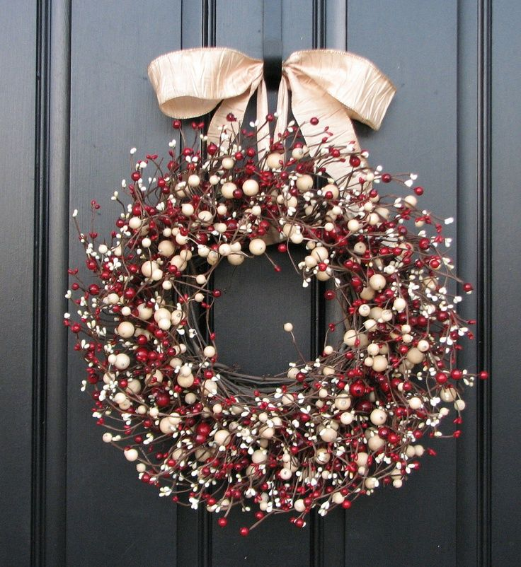 holly berry wreath on door
