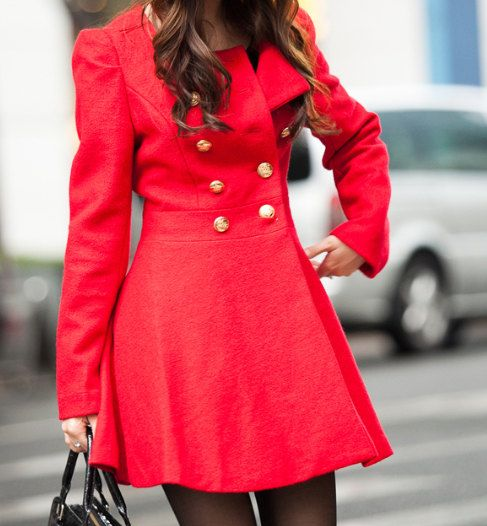 Red Woman Jacket/ Winter Coat/ Double-breasted Coat. $69.00, via Etsy.