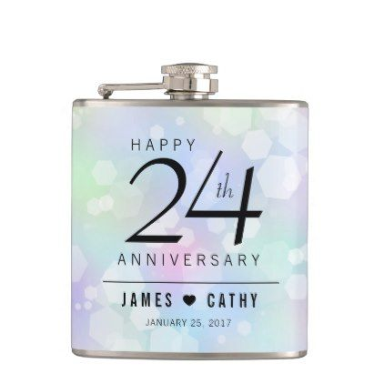 Elegant 24th Opal Wedding Anniversary Celebration Hip Flask - anniversary cyo diy gift idea presents party celebration