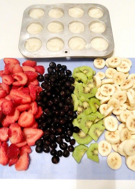 Freeze greek yogurt in a muffin tin and slice up your favorite fruits. Add about 3 yogurt pucks with a cup and a half of fruit to a ziplock bag and then you have breakfast smoothies premade for the morning. Just blend with a splash of juice and enjoy!