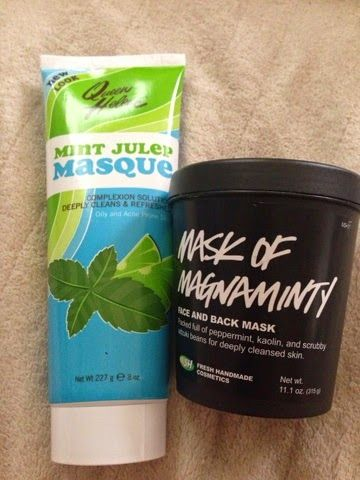 Minty mask showdown. Mask of Magnaminty. Queen Helene mint julep masque.