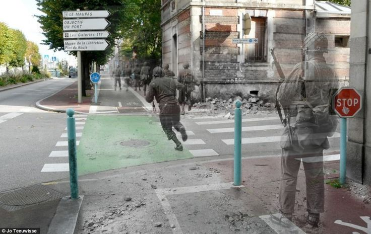 Artist super-imposes past pictures onto present locations. Dangerous crossing: Soldiers race up Avenue de Paris in Cherbourg in 1944, speeding past the rubble and over modern-day road markings.