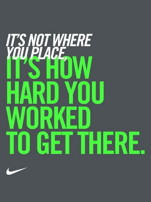 It's not where you place - Sports Motivation Quote