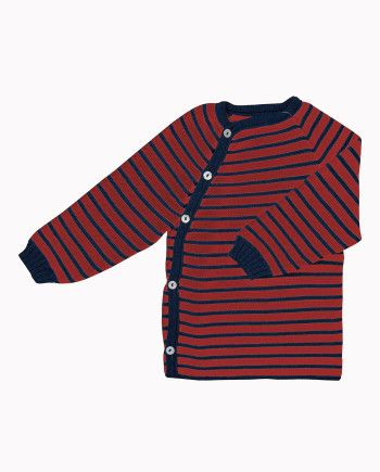 iobio wollen vestjes, blauw met rood gestreept