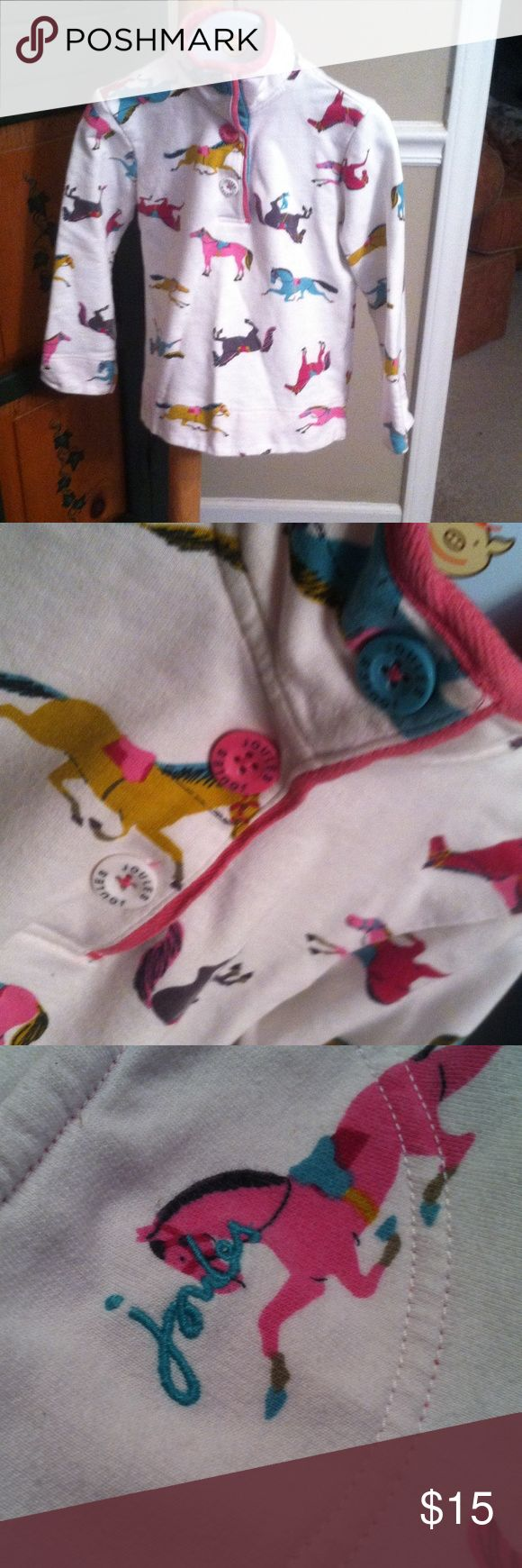Joules sz 4 Love this. Horses excellent long sleeve top. Your little horse lover will love this too!!  Off white Joules Shirts & Tops