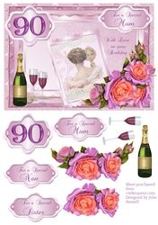 90th Birthday card with decoupage roses   vintage lady on Craftsuprint - View Now!
