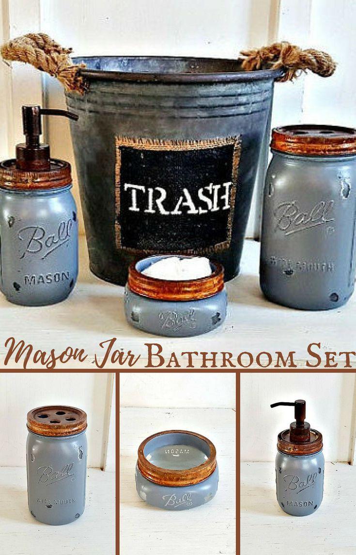 Perfect! I love this rustic mason jar bathroom set with the galvanized trash can. #farmhousebathroom #ad #rusticbathroom