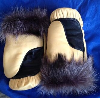 Inuit made leather mitts w/ fur trim by Anna Samisack