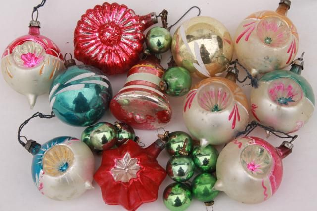 vintage antique glass Christmas tree ornaments, shabby worn fancy window balls, bell, flower