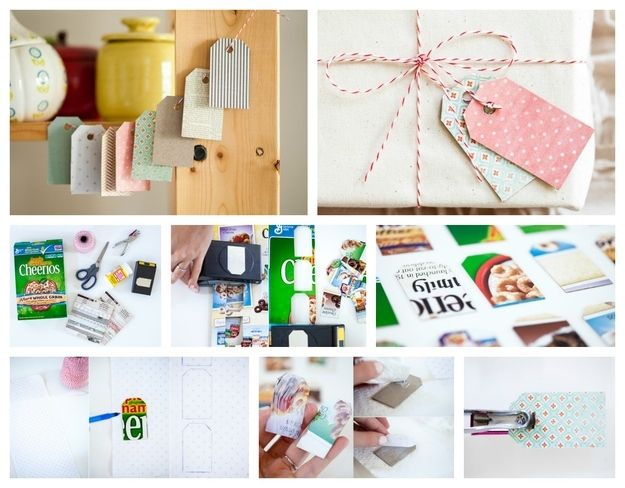 Gift Tags DIY: Cut little rectangles out of the sides of cereal boxes and decorate with patterned paper. All the details are here.