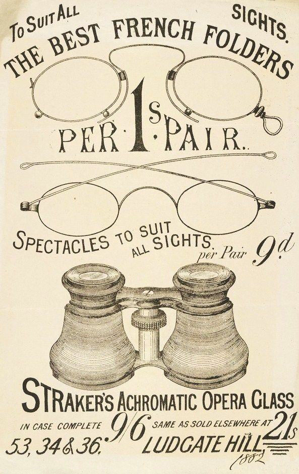 The Best French Folders - Spectacles to suit all Sights' - Optician's Advert published in London - 1882