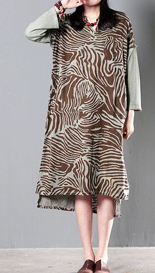Brown unique print summer maxi dress plus size patchwork caftan