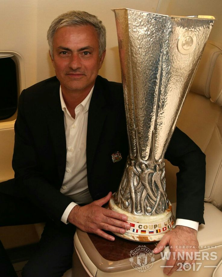 Man Utd manager Jose Mourinho with the UEFA Europa League trophy in 2017.